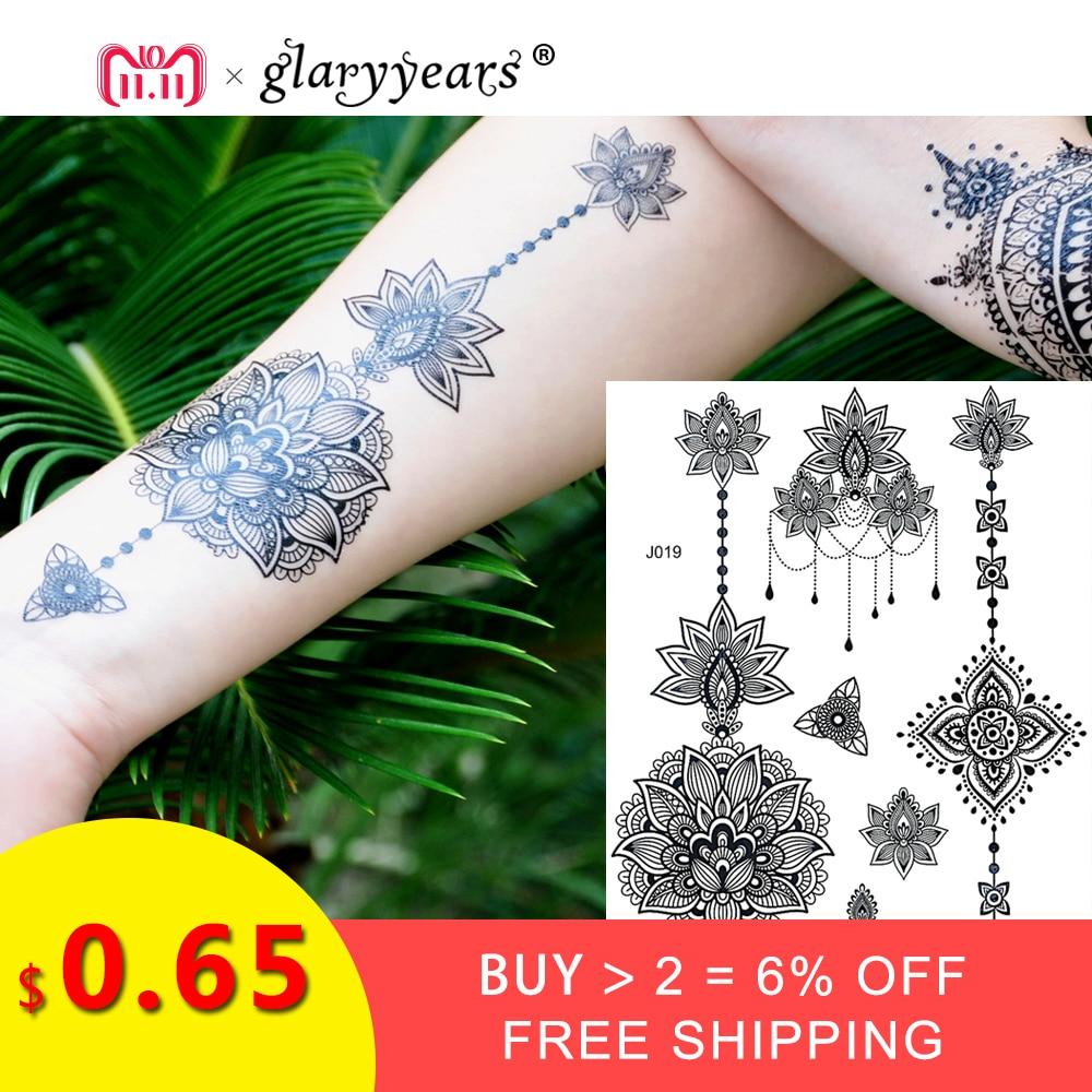 Bh1704 1 Piece Black Henna Cuff Tattoo With Flower Wrist: 1PC Fashion Flash Waterproof Tattoo Women Black Ink Henna