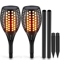 Waterproof 96 LED Flame Torch Lights Flickering Torches With Realistic Flames Solar Powered IP65 Waterproof