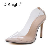 Sexy Clear Plastic Transparent PVC Women Pumps Club Party Wedding Shoes Woman 2019 Summer Designer Ladies Shoes Women High Heels