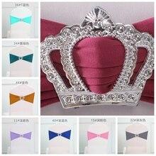 Красочные королевские пряжки с короной стул из лайкры Sash для украшения для свадебных стульев повязка из спандекса стрейч галстук-бабочка лайкра лента пояс