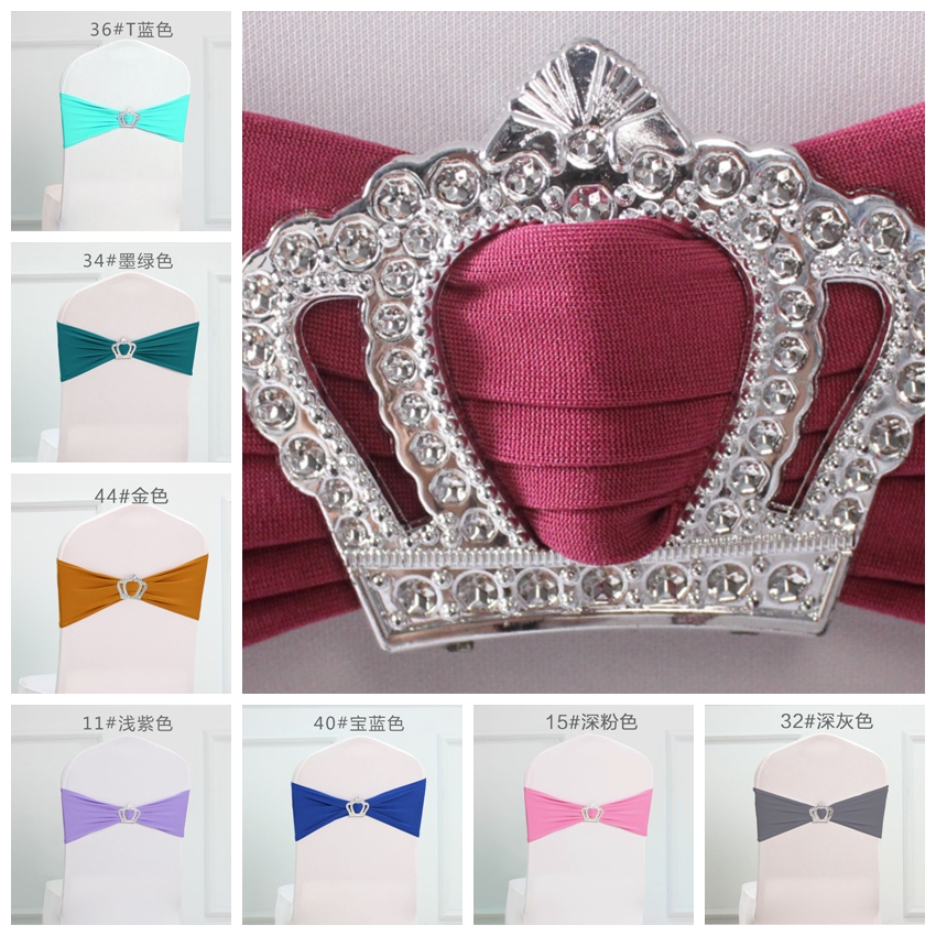 Colouful Royal Crown Buckles Lycra Chair Sash For Wedding Chairs Decoration Spandex Band Stretch Bow Tie Lycra Ribbon Belt