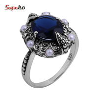 Szjinao Wholesale High Fine Carving 100% Natural Pearl + Vintage Blue Sapphire Women Sterling Silver Ring