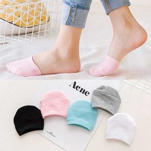 5Color Invisible Half Foot Cotton Socks Slippers No Show Non Slip Toe Cover Female Summer Casual Breathable Short