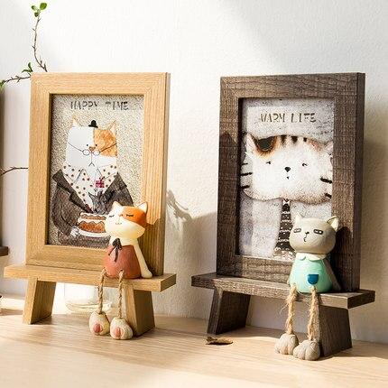 Dapper Cartoon Leuke Kat Fotolijst Nordic Creatieve Huishoudelijke Slaapkamer Wijnkast Decoratie Kamer Decoratie Stijl