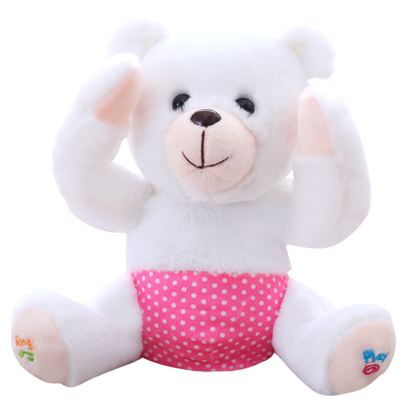 1 шт. 25 см электрические PEEK A Boo медведь Набивные плюшевые игрушки куклы музыка медведь Обучающие анти-стресс электрические игрушки для детск... ...