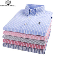 Sergio K Camisa 2018 Men Shirt Business Striped Men Oxford Shirts Long Sleeve Button Down Slim