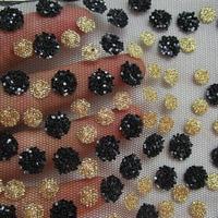 360 cm * 145 cm Nuovo Francese Splendente di Nozze Tessuto di Pizzo Africano Con Paillettes Oro abito Da Sera Nero Panno di Maglia di Festa partito Decor Tissu