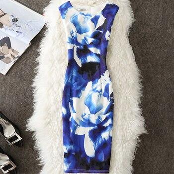 2222e7e5b2f46 ALABIFU Kadın yaz elbisesi 2019 Artı Boyutu 4XL Rahat Seksi Parti Elbiseler  Vintage Çiçekli Ofis Kalem Bodycon Elbise Vestidos