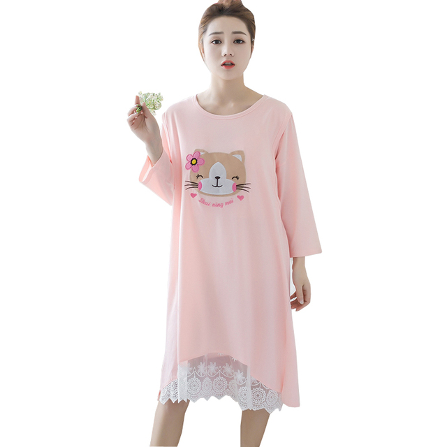 1341a5034f Cotton Maternity Nursing Dress Cute Cat Pattern Lace Patchwork Pink Dresses  Pregnant Pajamas Breastfeeding Sleepwear Nightgowns