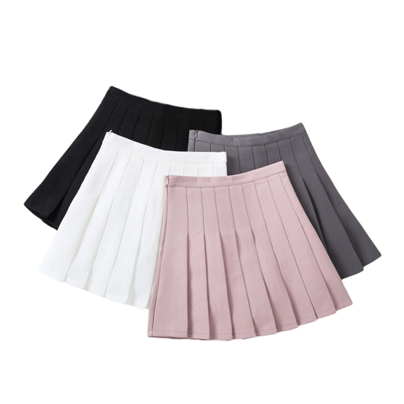 Kids Girls Pleated Skirts 2018 New Arrival Young Girls Solid Skirts Children Summer Clothing White Gray Black Pink 3-13Y GS08 2018 summer new arrival girls pleated chiffon one piece dress with paillette collar children colthes for kids baby pink green