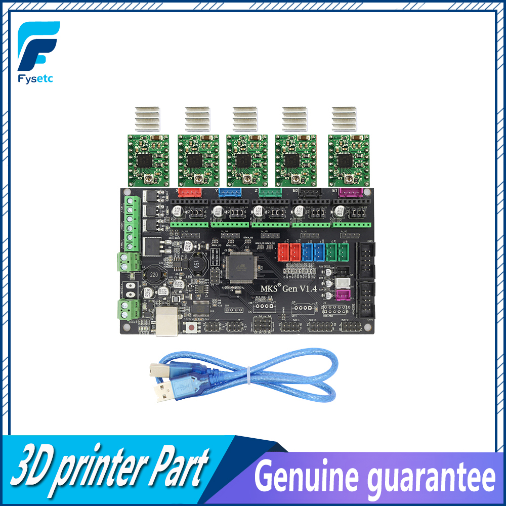 3D printer MKS Gen V1.4 control board Mega 2560 R3 motherboard RepRap Ramps1.4 compatible with USB and 5PCS Green A4988 drivers mks gen v1 4 control board mega 2560 r3 motherboard reprap ramps1 4 compatible with usb and 5pcs a4988 for 3d printer