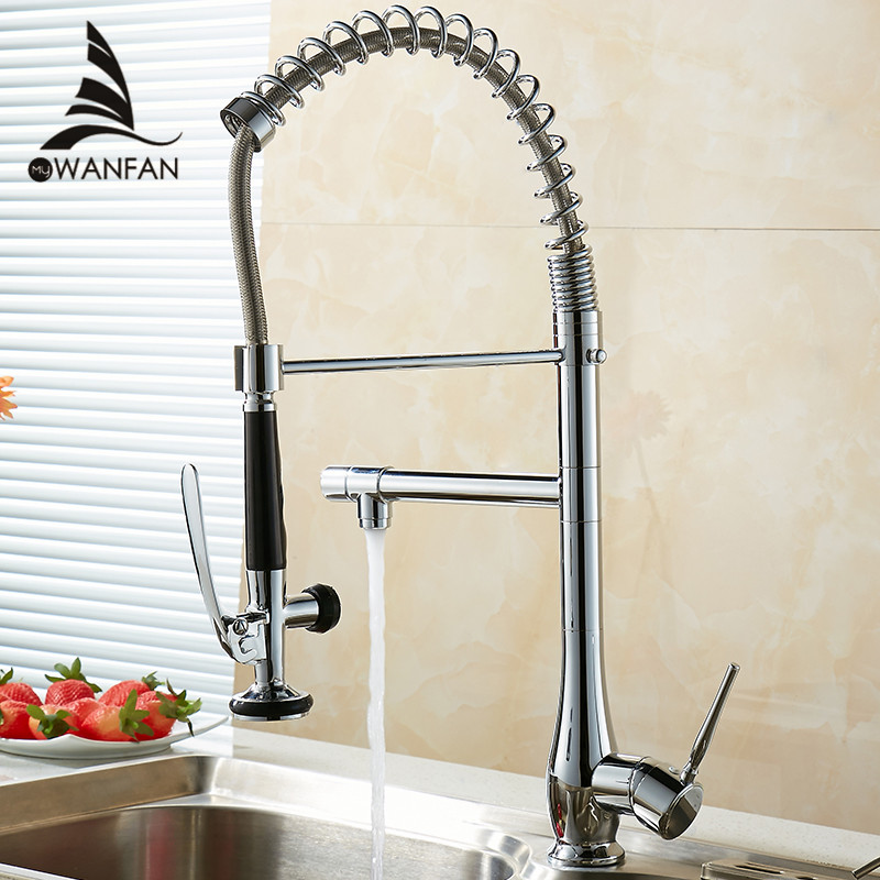 360 Degree Rotation Modern Polished Chrome Brass Kitchen Faucet Pull Out Single Handle Swivel Spout Vessel Sink Mixer MH-4828 wanfan modern polished chrome brass kitchen sink faucet pull out single handle swivel spout vessel sink mixer tap lk 9906