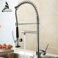 Wholesale And Retail Chrome Solid Brass Kitchen Mixer Cold And Hot Kitchen Tap Single Hole Water