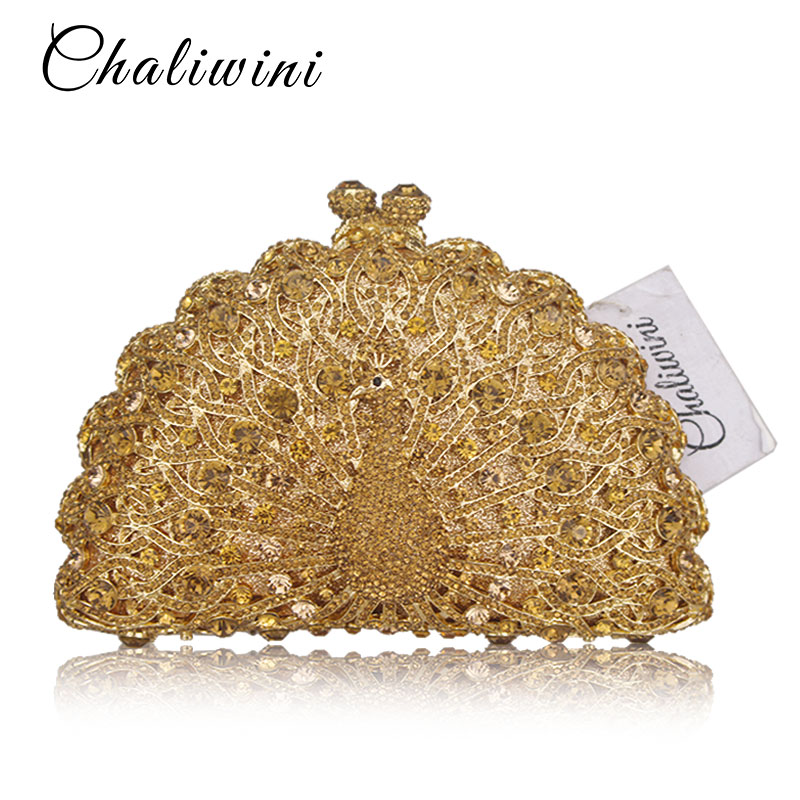 Gold Luxury Peacock Crystal Evening Bags Animal Clutch Designer Women Clutches Bridal Wedding Handbags Purses Party Bag red goldfish crystal clutch evening bags women mini metal hard case wedding clutches party bridal handbags purses