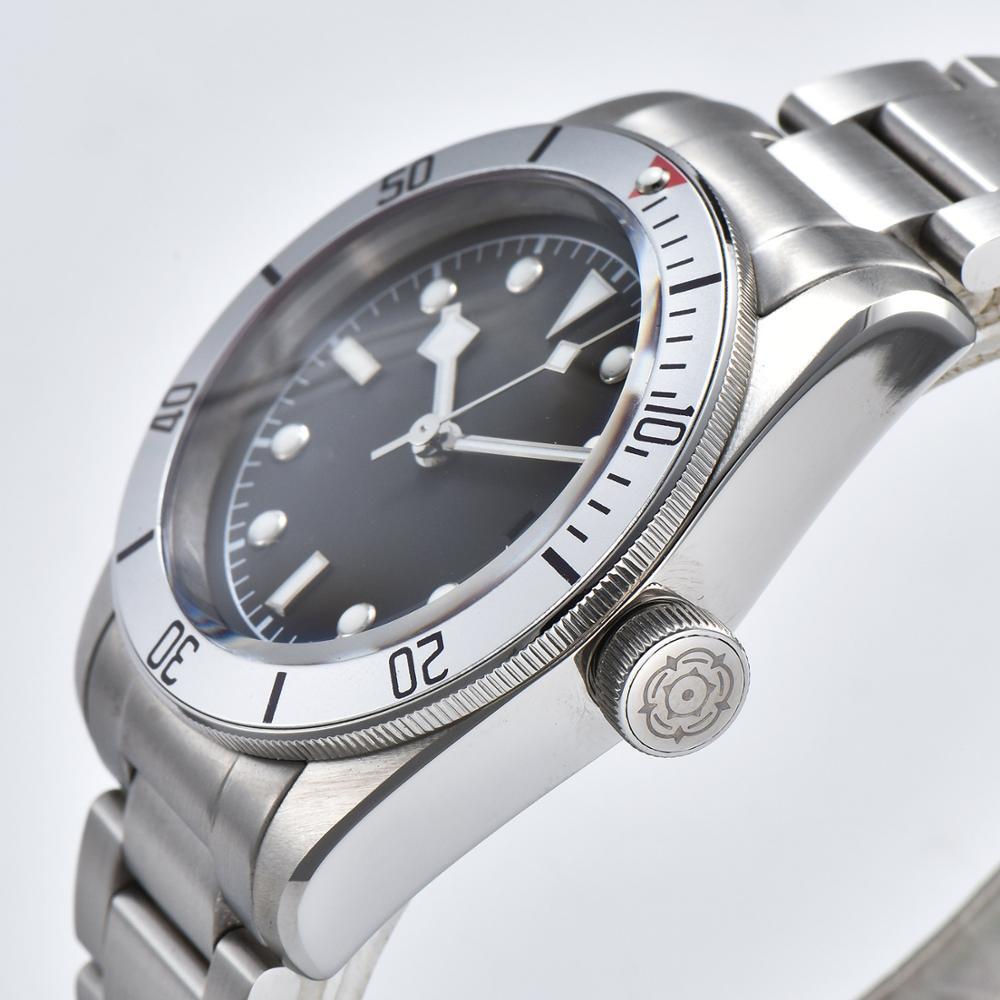 Orologio 41 millimetri diving movimento automatico Bay argento lunetta militare puntatore luminoso bracciale in acciaio vetro minerale quadrante Nero D6 - 5