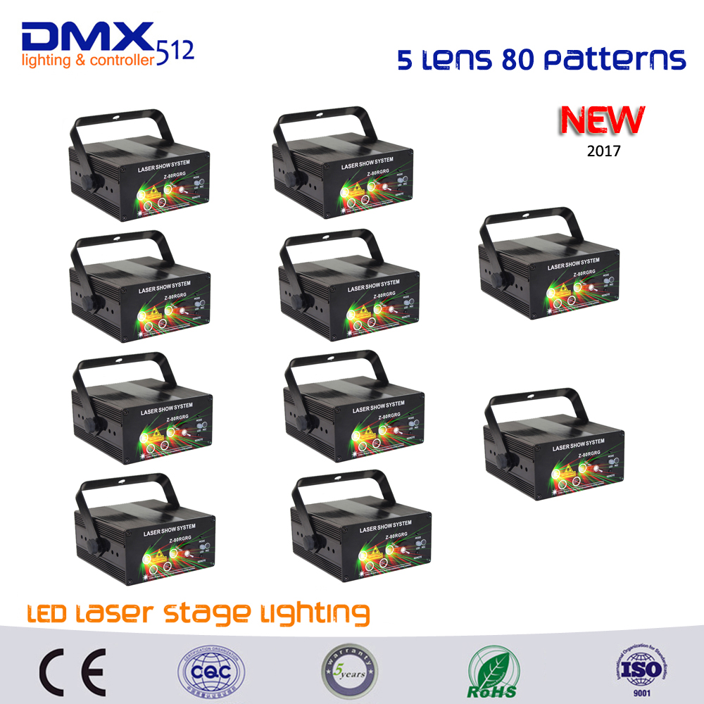 DHL Free shipping 10PCS Xmas Remote 5 Lens 80 Patterns RG Laser BLUE LED Stage Lighting DJ Show Light Home Professional Light