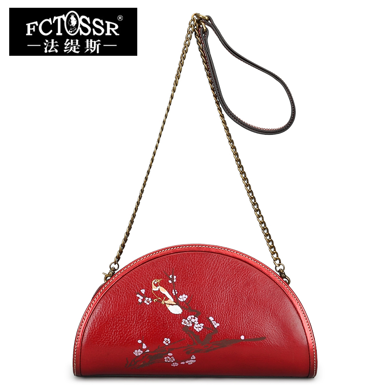 Genuine Leather Bags Women Day Clutches Half Moon Shoulder Bags Women Messenger Bags Hand Painted Crossbody Bag women s genuine leather day clutches 2016 new china designers women s cowhide embossing one shoulder bags fashion day clutches