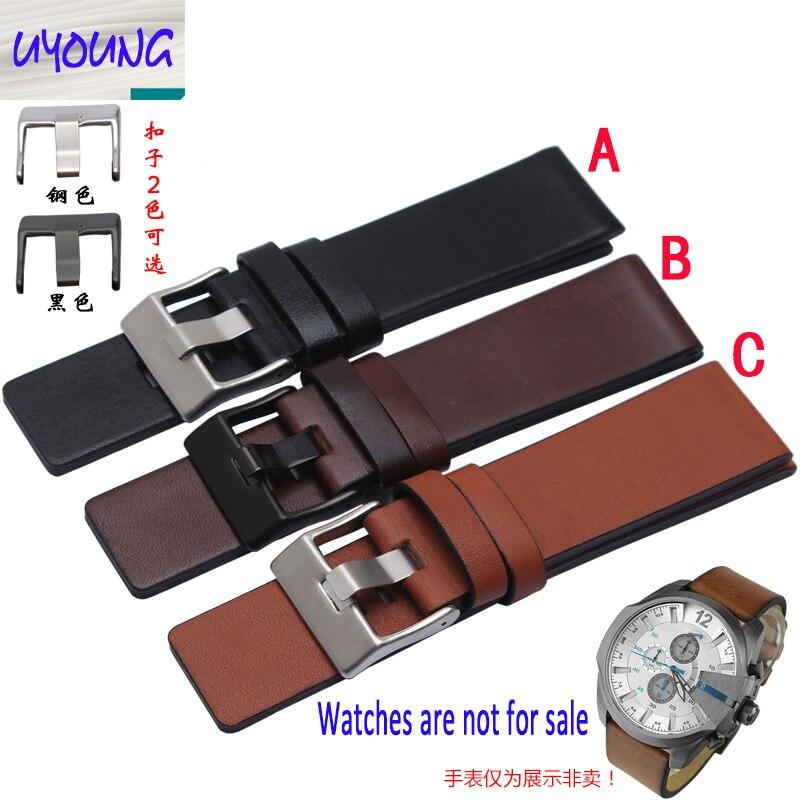 Youyang Plain Leather Watchband adapter DZ1399 DZ4280 DZ4290 24 26 28mm Diesel watch strap
