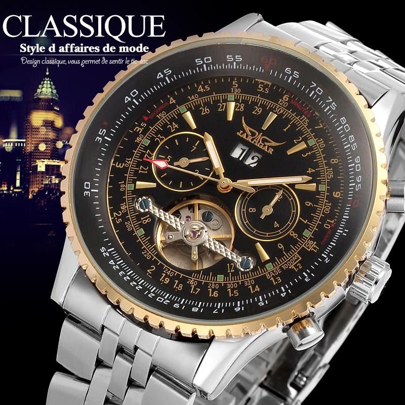 JARAGAR Big Dial Mens Watches Luxury Automatic Self-wind Relogios Masculino Military Watch Tourbillon Mechanical Clock