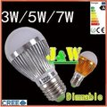 2pcs/lot,  3W , 5w , 7w  E27  Golden/Silver 180 Degree Dimmable LED BULB Energy Saving Lamp 100-220V Free Shipping