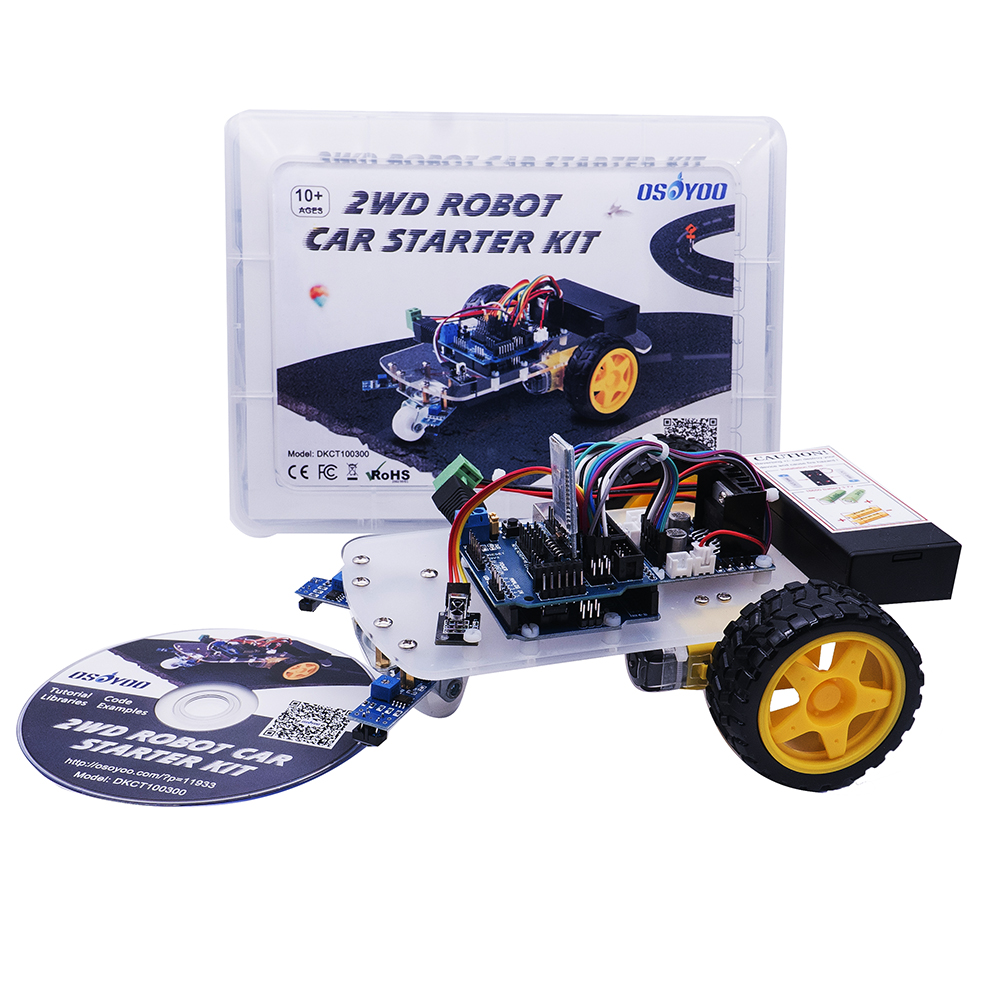 OSOYOO 2WD Robot Car Starter Kit for UNO R3 Arduino Project Smart Educational Toy Car Robotic Kit doit uno starter kit for smart car chassis with arduino uno r3 board l298n motor drive shield tracking module dupont line