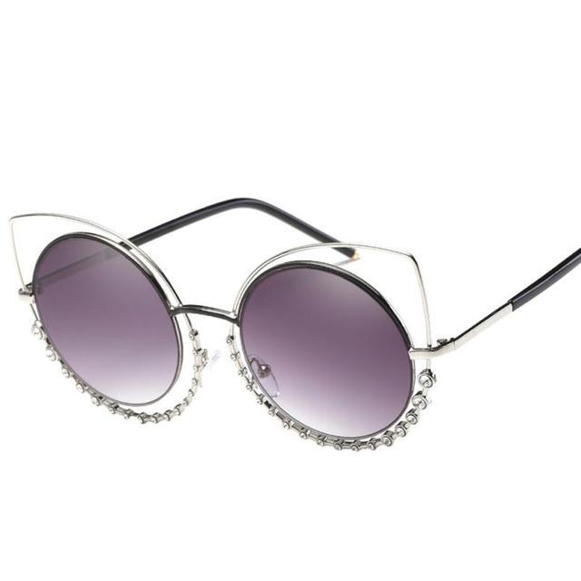 8a098e9d0e6 3011  2017 Summer Most Popular Women Diamond Metal Frame Cat Eye Sunglasses  100% Brand New And High Quality free shipping
