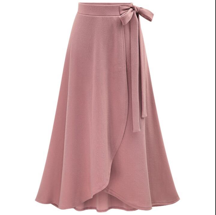 Sukně ženské nepravidelný elastický pas plus velikost XL- 5XL 6XL jaro podzim vysoký pas volné kůlny sukně dámské Bowknot sukně
