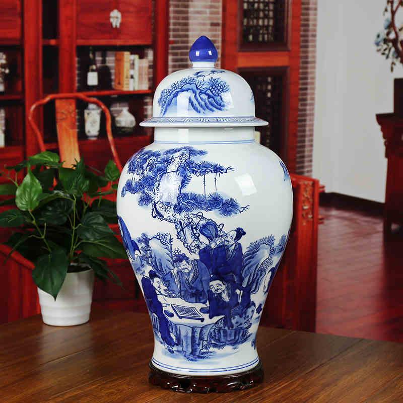 Jingdezhen Ceramic Temple Jar Antique Porcelain Wholesale Decorative