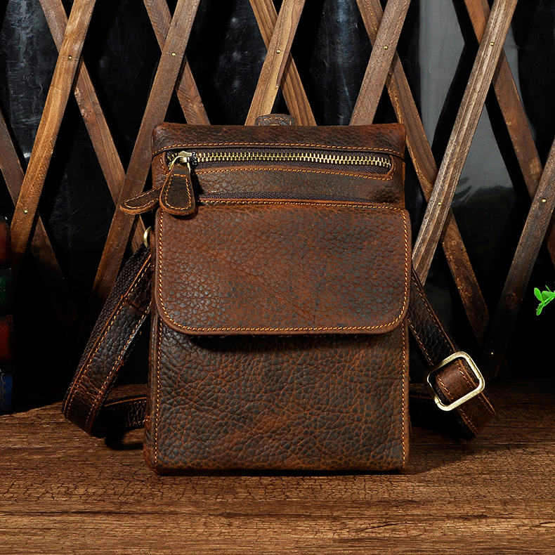 Fashion Men Vintage Genuine Leather Mini Waist Pack 8 Inch Shoulder Bag Crossbaody Bags Casual Boys Fanny Packs Messenger Bags