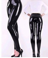 Latex natural soft Trousers rubber pants with foot women sexy men leggings