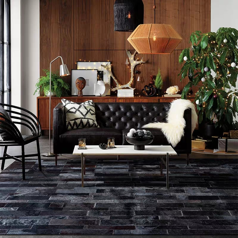 American style luxury cowhide patch work rug, natural black color cow skin fur carpet for living room decoration fur matAmerican style luxury cowhide patch work rug, natural black color cow skin fur carpet for living room decoration fur mat
