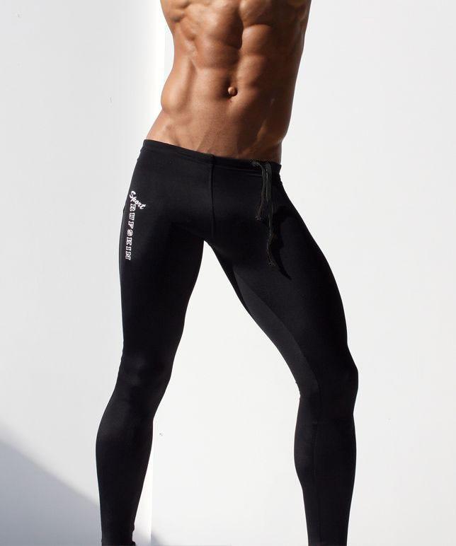 Mode Herren Kompressionshosen Einfarbig Lange Sexy Enge Hosen Low - Herrenbekleidung - Foto 5