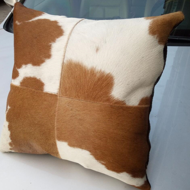 50x50cm Top Quality Brown White Natural Cowhide Skin Pillowcase Pillow leather cushion case Customize