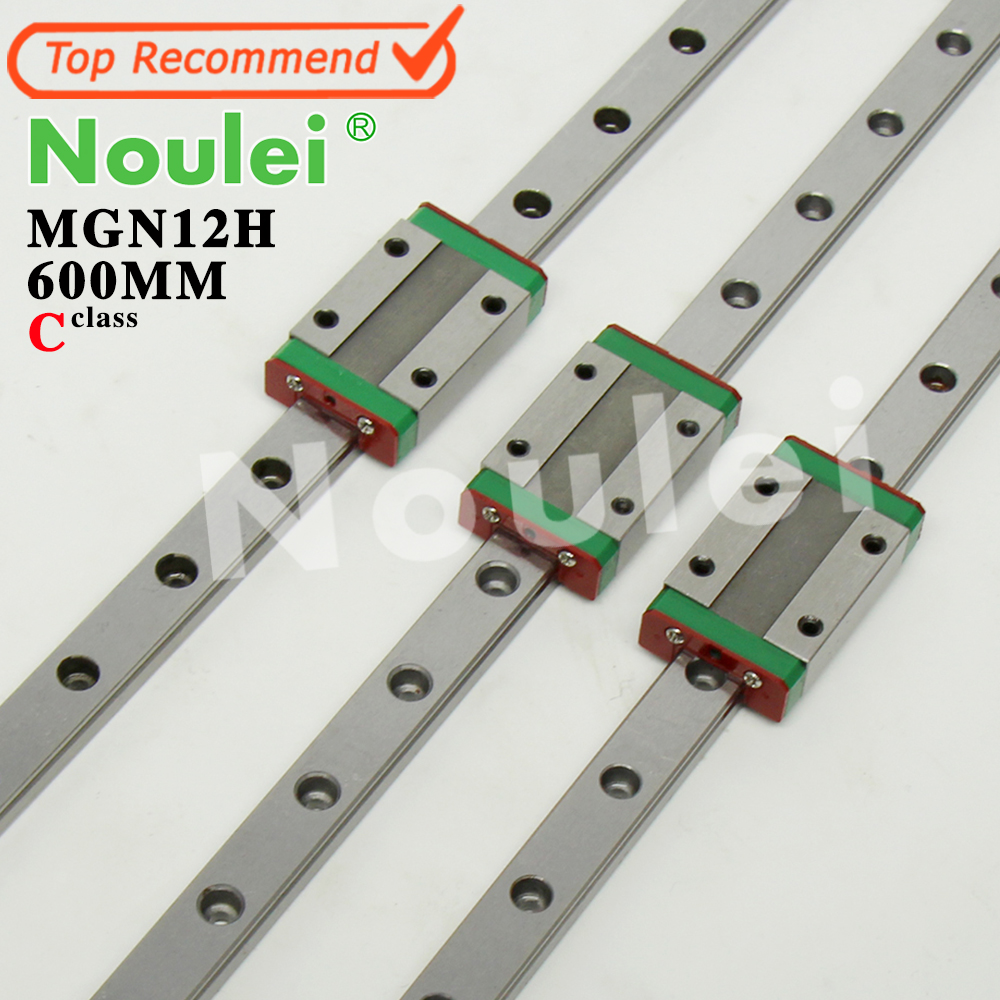 Noulei Mini MGN12 12mm linear guide rail 3 pcs 600mm with MGN12H slide Block for CNC X Y Z axis parts hig quality linear guide 1pcs trh25 length 1200mm linear guide rail 2pcs trh25b linear slide block for cnc part