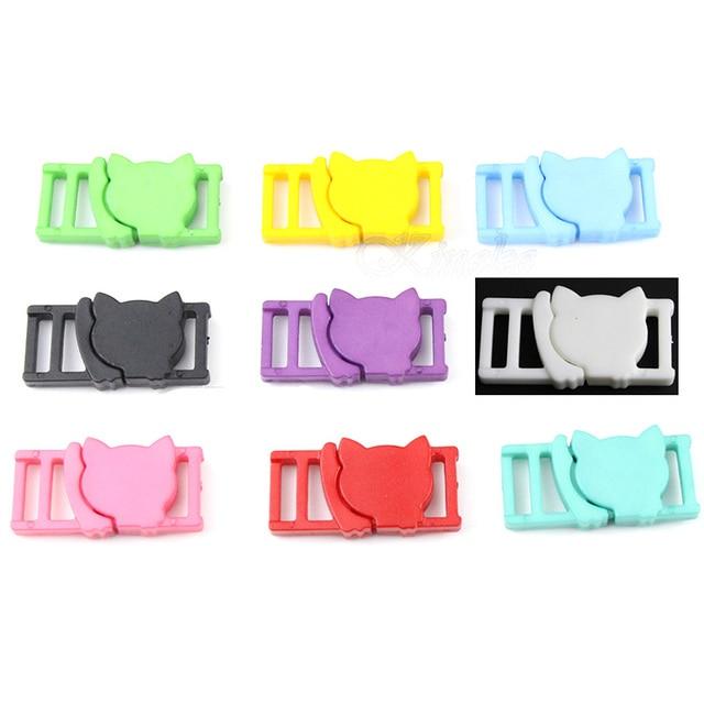 """10pcs~100pcs Color 3/8""""(11mm)Buckle Cat Head Safty Break away Plastic Cat Collar Paracord Webbing Apparel Accessories"""