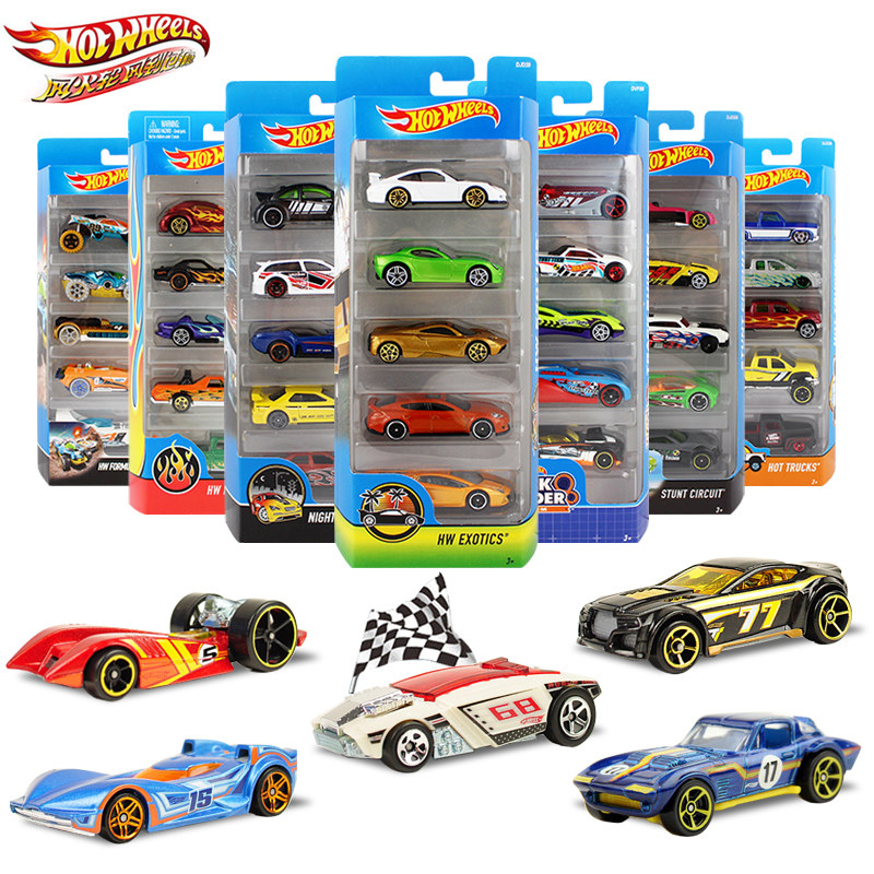 5pcs/pack Original Hot Wheels 1:64  Metal Mini Model Car Kids Toys For Children Diecast Brinquedos Hotwheels Birthday Gift 1806 luces led de policía