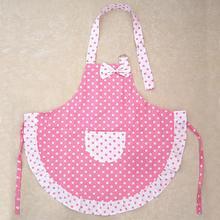 Adorável dos desenhos animados rosa bowknot dot avental bonito criança crianças avental para crianças cozinha arte cozimento pintura jogo manter a limpeza avental