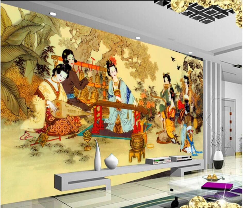 WDBH Custom photo 3d wallpaper Chinese classical palace Playing music background home decor living room wallpaper for walls 3 d image