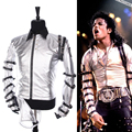 Punk MJ Michael Jackson BAD Clássico turnê Prata Bodysuit Outerwear Jaqueta para a Coleta de Presente Supprise