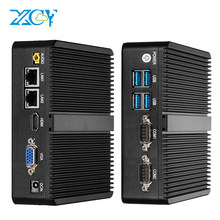 Xcy fanless mini pc intel pentium 3805u windows linux duplo nic gigabit ethernet 2 * rs232 hdmi vga 4 * usb wifi micro pc industrial(China)