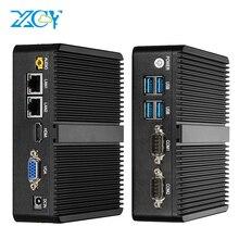 XCY Mini PC Intel sin ventilador Celeron J1900, doble Gigabit Ethernet, 2x RS232, HDMI, VGA, 4x USB, WiFi, Windows 10, Linux, ordenador Industrial