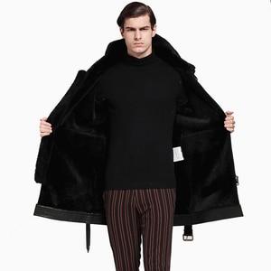 Image 5 - Men Long Thicken 100% Real Sheepskin Fur Coat Genuine Full Pelt Sheep Shearling Male Winter Jacket Black Men Fur Outwear