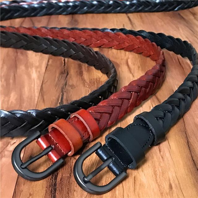 Cuero genuino mujeres hechas a mano trenzado correa de las señoras de la alta calidad trenzado cinturón mujer cinturón femenino Ceinture Femme WBT0073