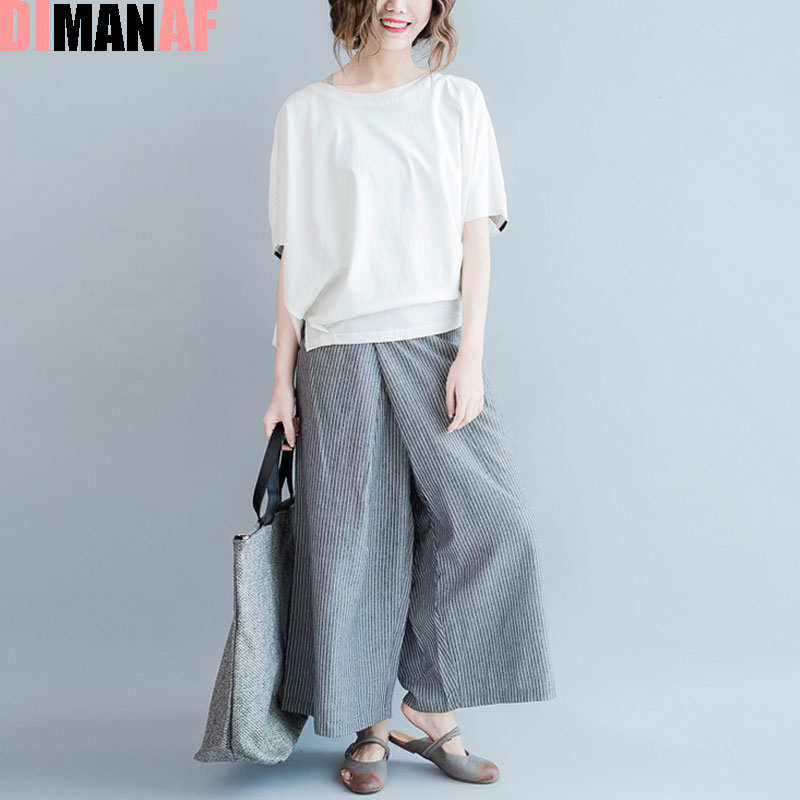 Plus Size Women Harem Pants Elastic Wide Leg Pants Striped Print Vintage Loose Flare Pants Summer Style Large Size Grey Trousers