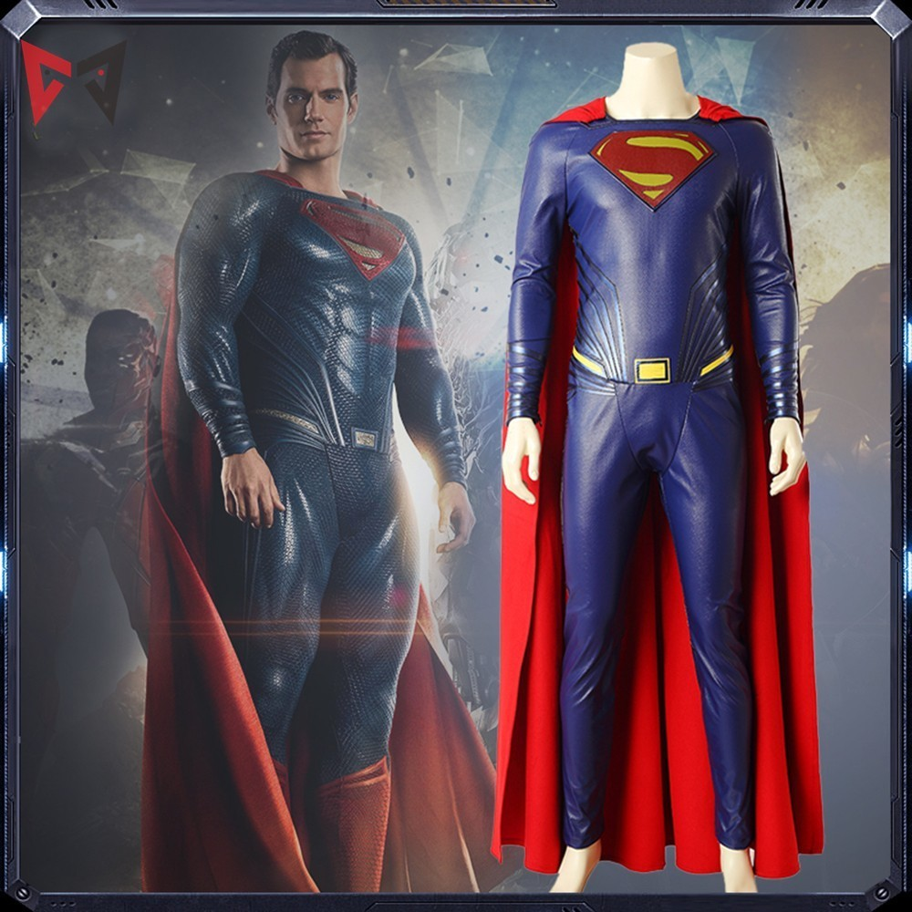 MMGG Superman Clark Kent Cosplay Costume Justice League Outfit Movie Superhero Clothes Boots Red Cloak Adult Men Customized