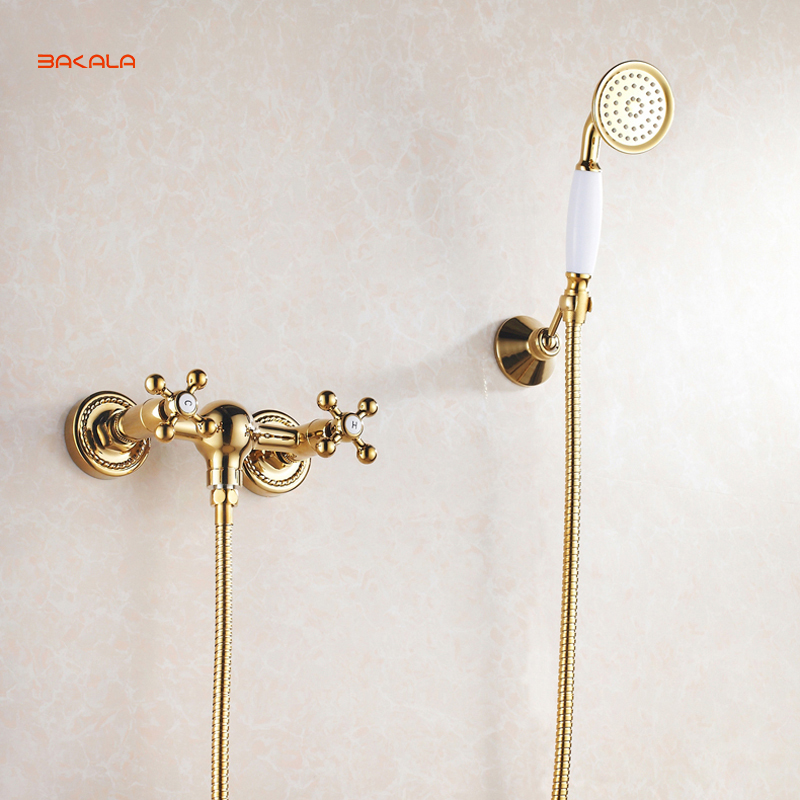 BAKALA Golden Fished Bath Faucets Wall Mounted Bathroom Basin Mixer Tap Crane With Hand Shower Head Bath & Shower Faucet GZ-6758 bathroom basin faucet thermostatic bathroom crane water tap mixer with hand shower
