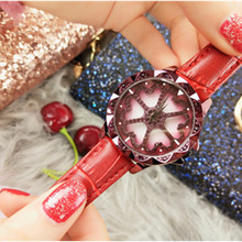 Hot Selling Womens Watch Leather Belt Casual Diamond Waterproof Purple Quartz Tide Buckle Chronograph  watches women