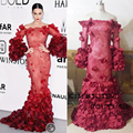 Katy Perry Vino Tinto 2016 Festival de Cannes Vestidos de la Celebridad Fuera Cuadro Verdadero del Hombro de Encaje Sirena de Color Rojo Oscuro de la Alfombra Roja vestido