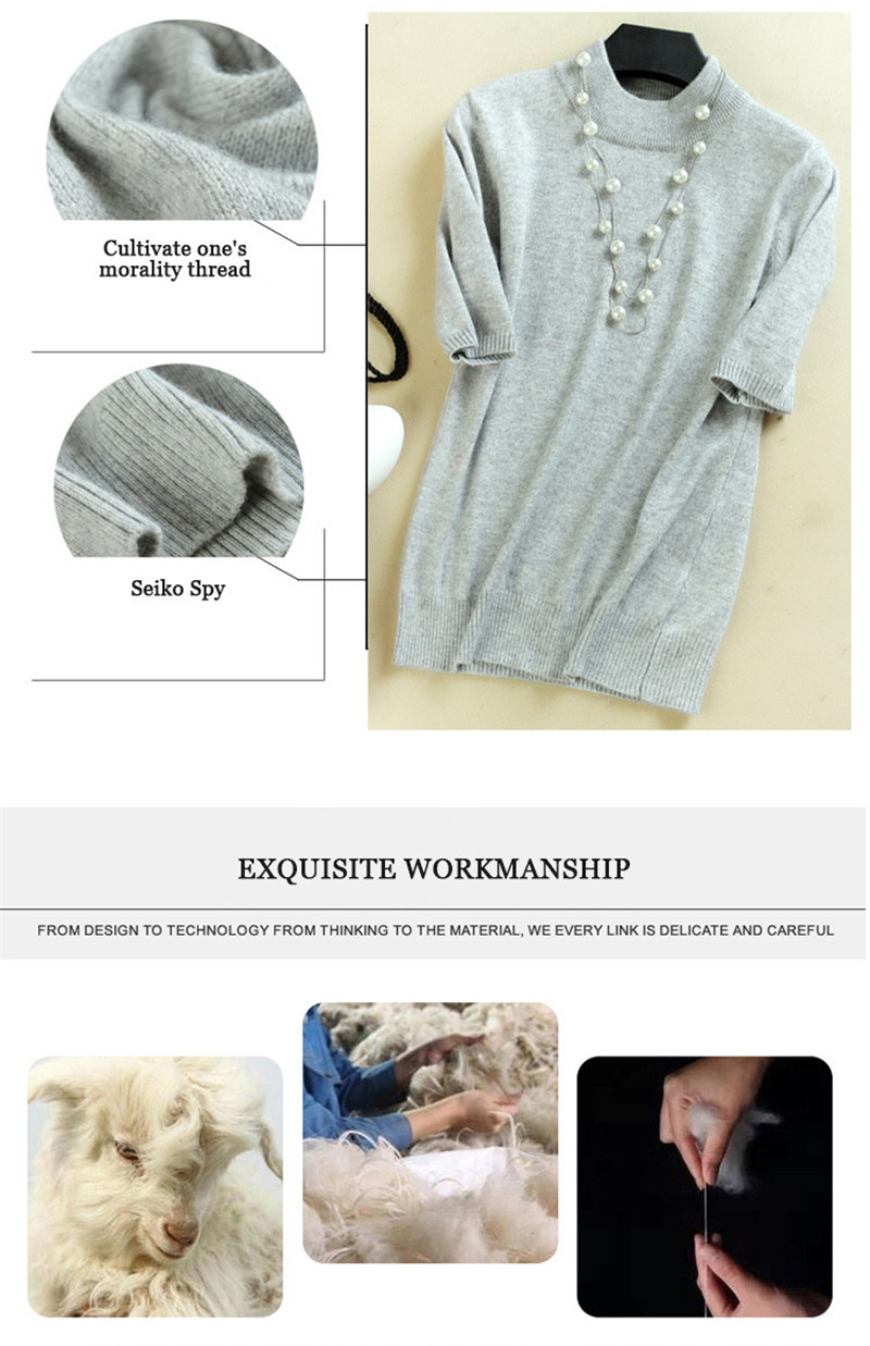 17 Women's Cashmere Turtleneck Short Sleeve Knitted Pullover Tee Base T Wool Cashmere Brand Sweater Women Jumper 9