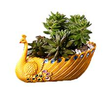 Ceramics yellow peacock Succulent Plant Pot Flower Planter Mini Garden Design